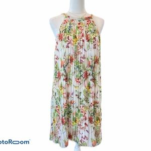 Neiman Marcus Tropical Floral Pleated Dress 8